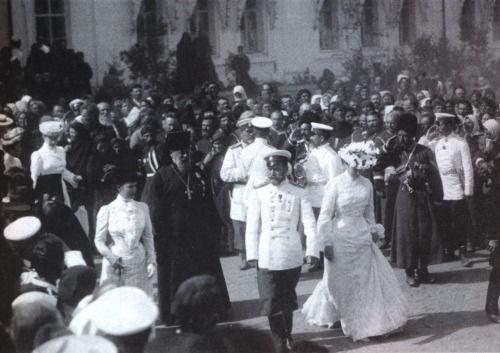 Empress Maria Feodorovna, Nicholas II and Alexandra Feodorovna during the glorification of St. Seraphim of Sarov, 1903.