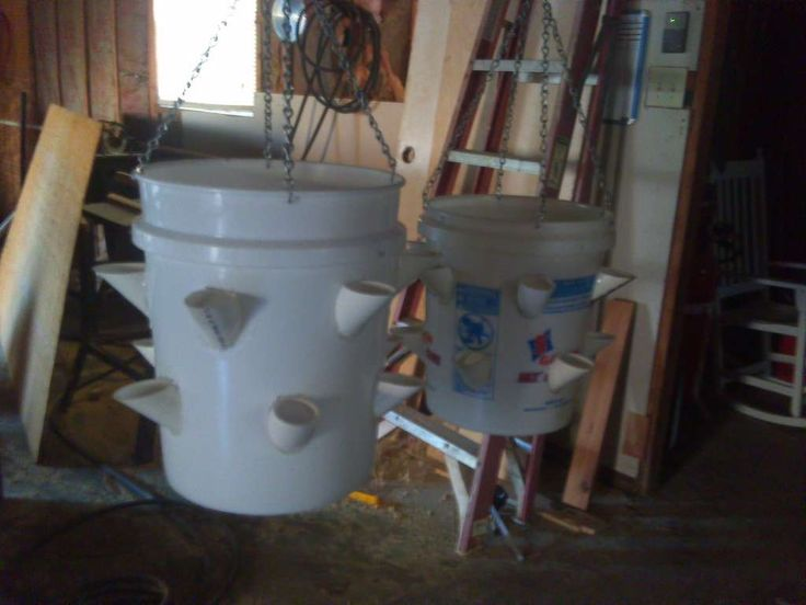 Create your own strawberry planter with a 5 gallon bucket and some plumbing supplies