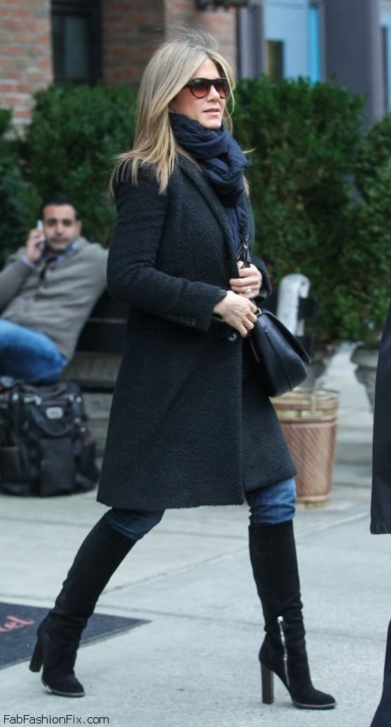 Jennifer Aniston street style with black coat and knee-high boots (November 2014). #jenniferaniston
