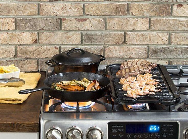 Lodge LPGI3 Cast Iron Reversible Grill/Griddle 20-inch x 10.44-inch, Black Oven