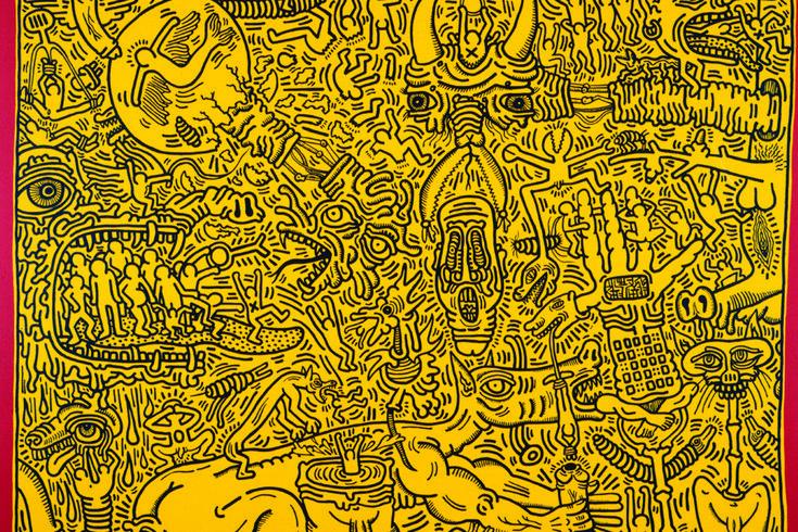 Les monstres sur fond jaune | Coloriages adultes Keith Haring | Pinte…