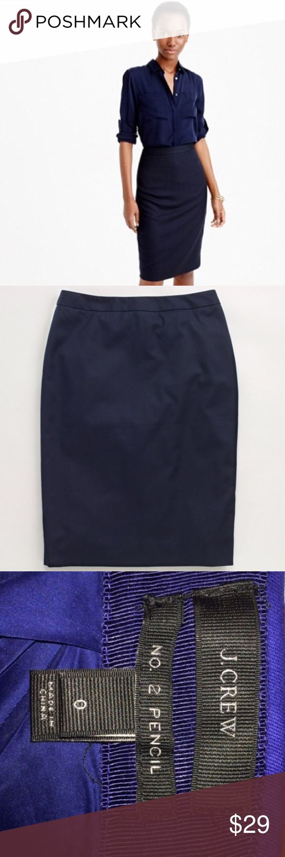 J. Crew Navy Blue Pencil Skirt Worn a few times and in perfect condition. Classic pencil skirt from J. Crew in a flattering Navy blue. Perfect for work J. Crew Skirts Pencil