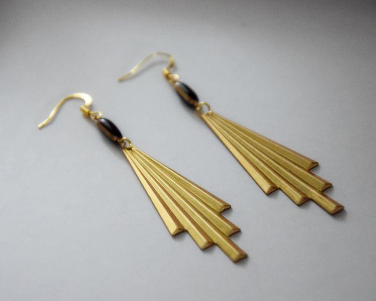 Boucles d'oreilles Graphique  Art déco en laiton doré et noir