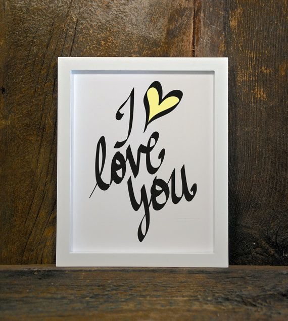 I LOVE YOU quote nursery home heart yellow by MountainViewPrints