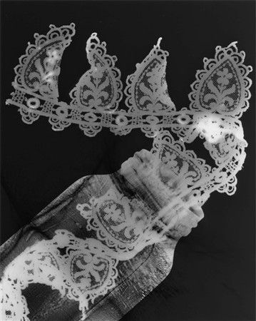 Photogram image - jar with lace tatting (2009) by Ruth Harvey