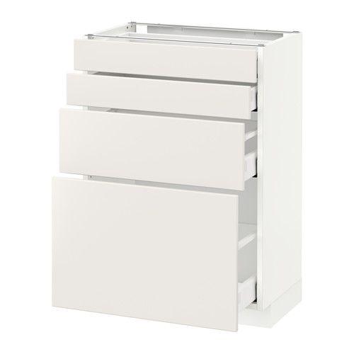 METOD / MAXIMERA Onderkast 4 fronten/4 lades - wit, Veddinge wit, 60x37 cm - IKEA