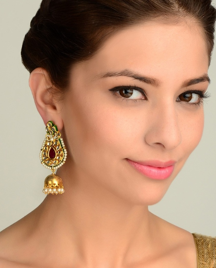 Ornate Earrings with Jhumki Drop  by Nidhaan