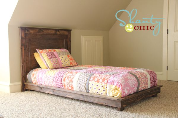 30 pottery barn inspired twin platform bed diy platform for Simple twin bed frame