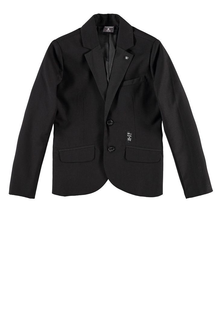 Zwarte jongens blazer, colbert, jasje, style MALKO. Verkrijgbaar in maat 92 t/m 176. Van het kinderkledingmerk Baker Bridge.