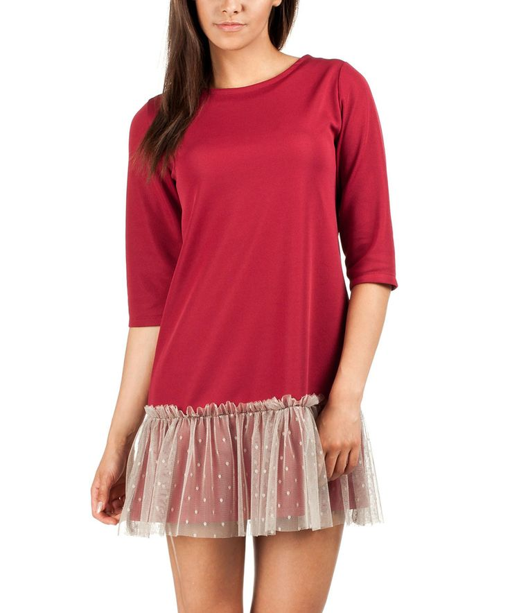 This MOE Maroon Tulle Shift Dress by MOE is perfect! #zulilyfinds