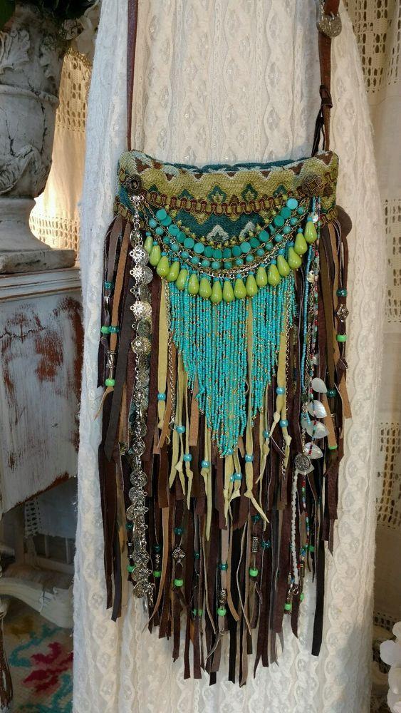 handmade fabric brown leather fringe crossbody bag hippie
