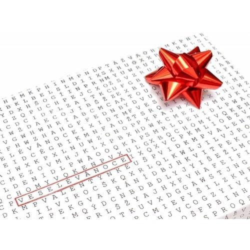 giftwrapping paper with many words to choose from / Dárková Osmisměrka vyberti si vlastní přání