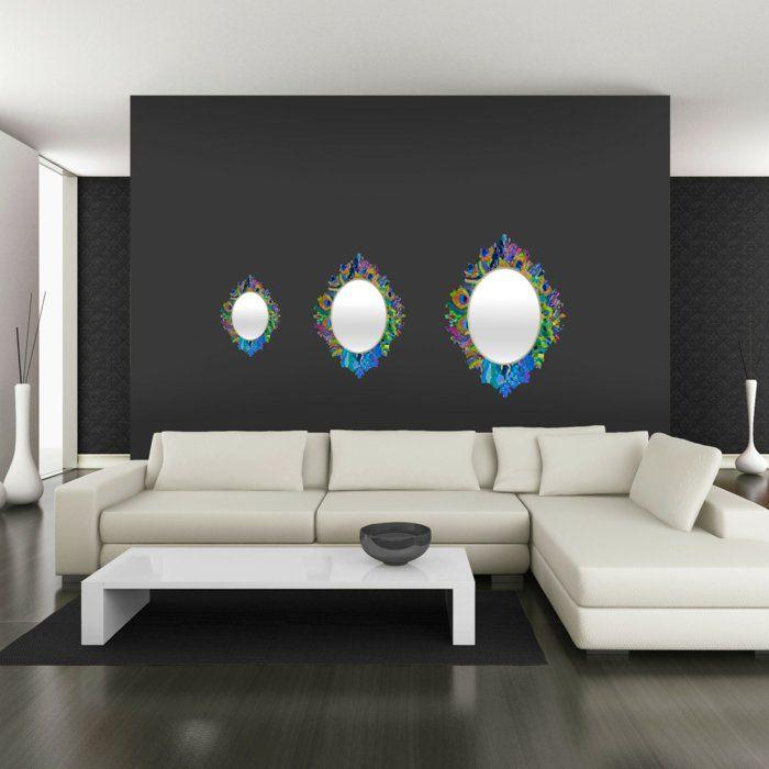 farbgestaltung wohnzimmer wandgestaltun wanddesign schwarz tiefe - Wanddesign Wohnzimmer