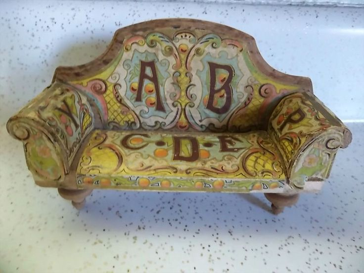 Antique Bliss Doll House Miniature Lithographed ABC Sofa Dollhouse Furniture  C1890