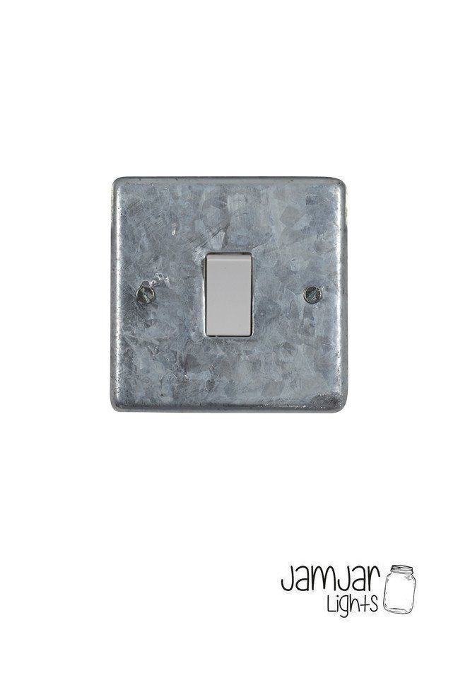 Finally! Electrical accessories in a galvanised finish. These plates are galvanised locally then assembled and tested using Crabtree inserts. 10Amp 1-gang 2-way switch. Comes with 3.5mm nickel plated socket screws. Fits standard UK socket boxes Also available with black inserts                 Please be aware these are a heavy galvanised finish, the finish, texture and shade will vary slightly between each item.