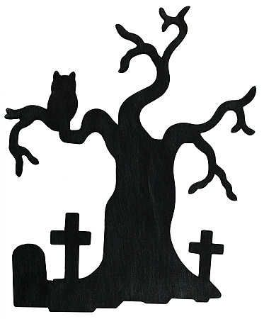 black halloween wood haunted silhouette tree with crosses and owl cutout