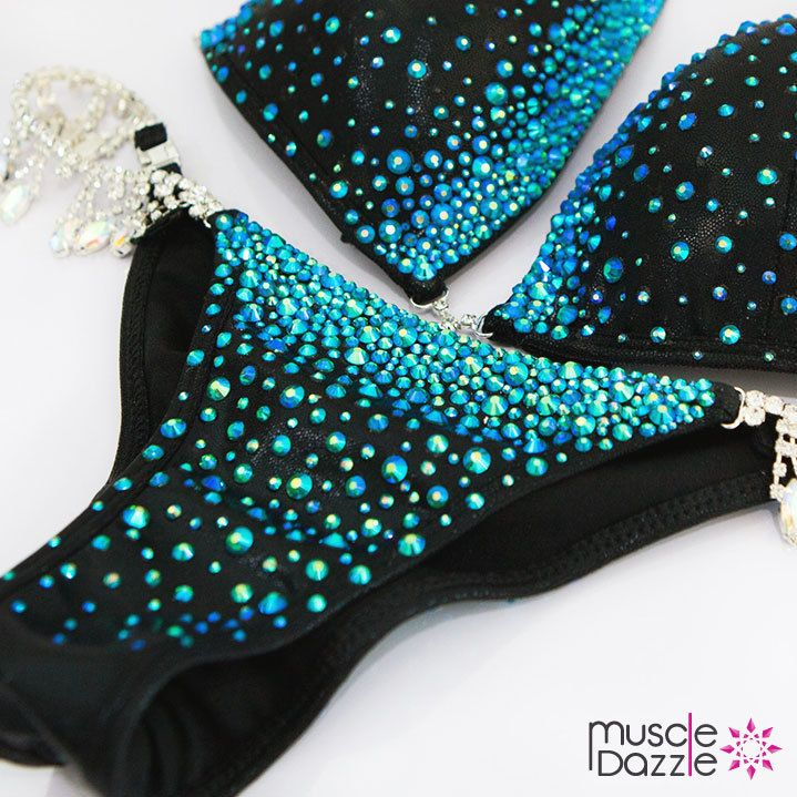 Blue on Black Crystal Competition Bikini (CB231)