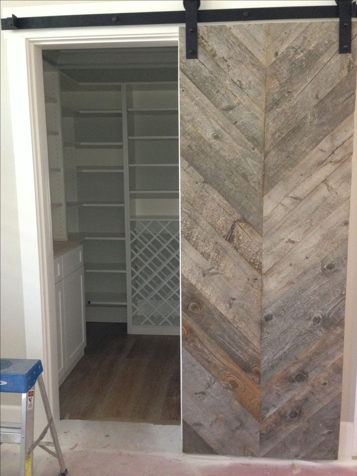 Reclaimed chevron barn door interior barn doors for Recycled interior doors