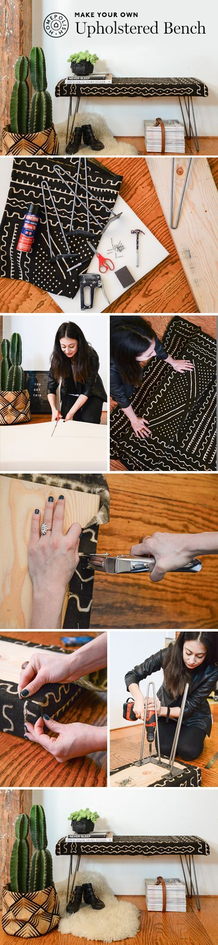 DIY this beautiful and easy to make upholstered bench!