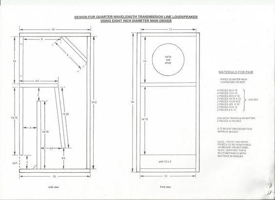Plan For Transmission Line Speaker Cabinet Using 8