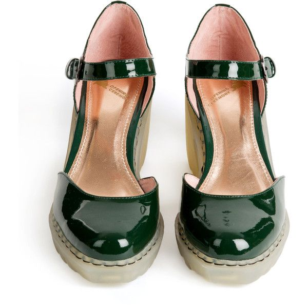Opening Ceremony Grunge Mary Janes ($146) ❤ liked on Polyvore featuring shoes, heels, jungle green, high heel mary janes, mary jane shoes, opening ceremony shoes, high heel mary jane shoes and heeled mary janes