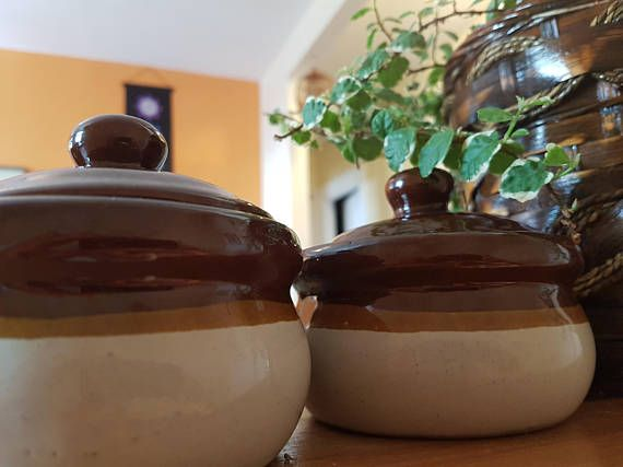 Vintage French onion soup bowls with lids 1970's set of 2