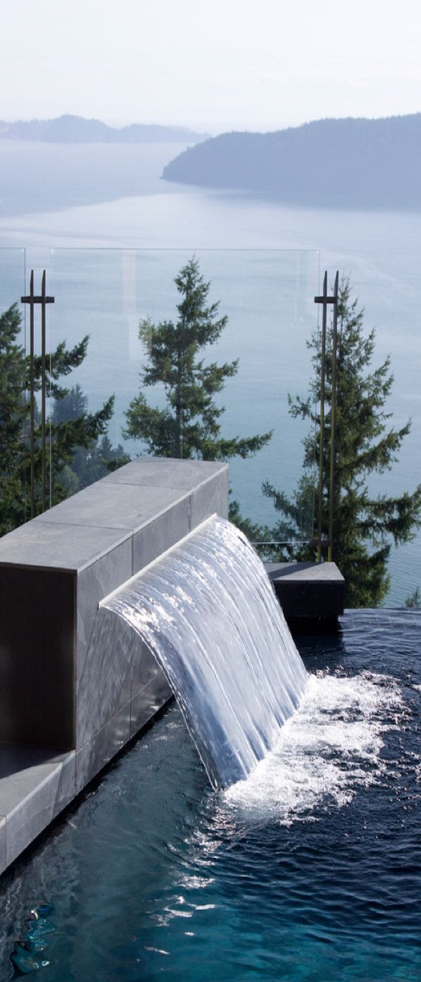 25 best ideas about pool waterfall on pinterest pool for Swimming pool waterfalls construction