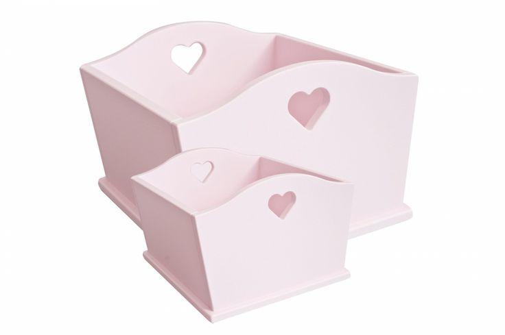 Drewniane pudełka z serduszkiem pudrowe - Skrzynie i kosze - Meble - Meble Fotele - caramella