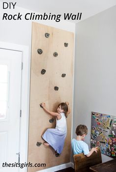 DIY Rock Climbing Wall - this is a great project for a kids' playroom. It's a great way to keep kids active.