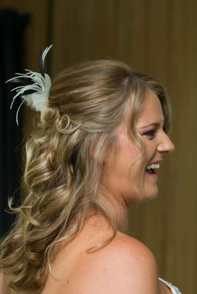 Wedding hair. Curls. Half up half down. Blonde hair