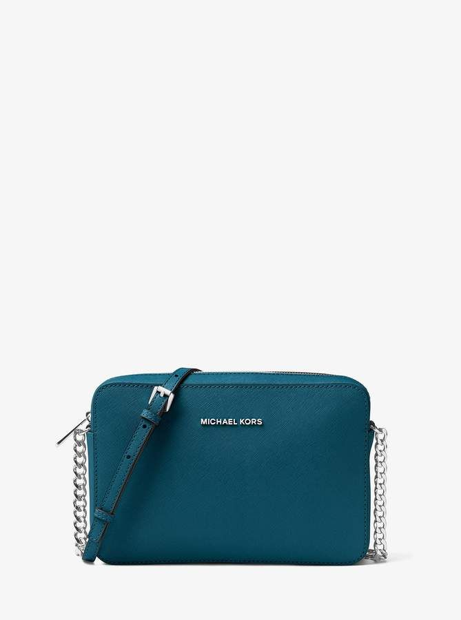 c9bcd9d26593a1 Michael Michael Kors Jet Set Travel Large Saffiano Leather Crossbody - Luxe  Teal Micheal Kors Handbag