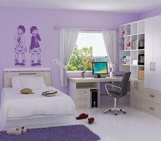 lila rengi genc kiz odasi duvar rengi hali mobilya yatak ortusu carsaf pike yastiklar lila rengi aksesuarlar (1)