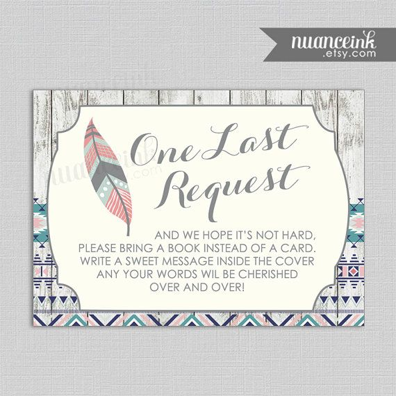 Tribal American Indian Baby Shower Book Request by NuanceInk