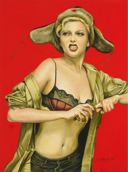 'Grenade girl'  by Kathrin Longhurst. Finalist Sulman Prize 2012, Art Gallery NSW. Longhurst grew up behind the Berlin Wall and was exposed to art designed to indoctrinate the viewer with communist ideology.   In questioning the  propaganda  of these paintings, she wishes to portray  the people of her youth, claiming 'they were beautiful but were painted grey by the geographical politics of the day.' Reminded me of Tamara de Lempicka's work.