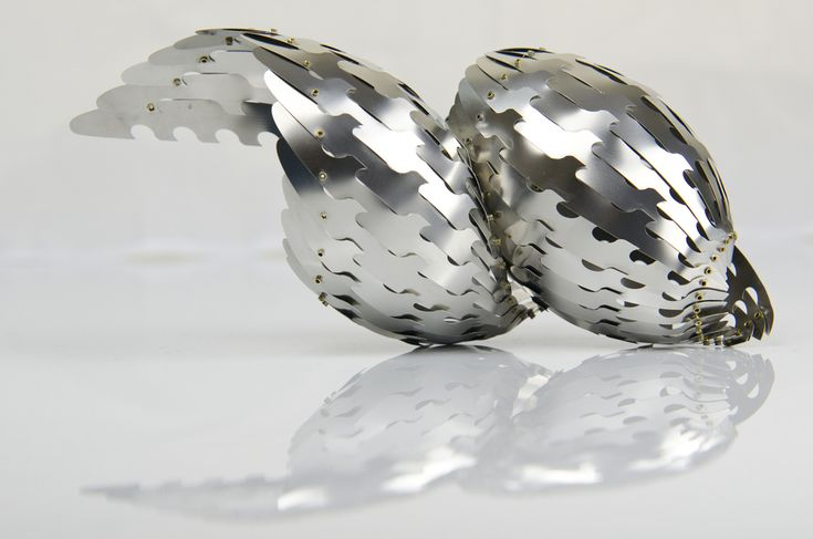 Lolium. Stainless steel sculpture with rivets