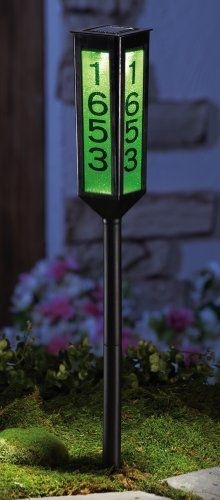 """Solar Lighted Color Changing Address Marker Garden Stake By Collections Etc by Collections. $9.99. Includes 1 """"AAA"""" rechargeable battery. 23 1/4""""H. Solar-powered light sets this classic coach style lantern aglow. Features ever-changing colors to showcase your house number. Comes with 5 sets of adhesive-backed numbers (0-9) for customizing. Solar-powered light sets this classic coach style lantern aglow with ever-changing colors to showcase your house number. Comes with 5 s..."""