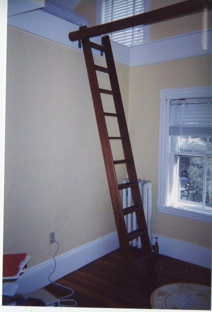 dark stained ladder