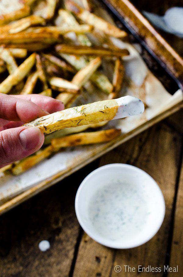 Garlic Dill French Fries with Lemon Dill Yogurt Sauce