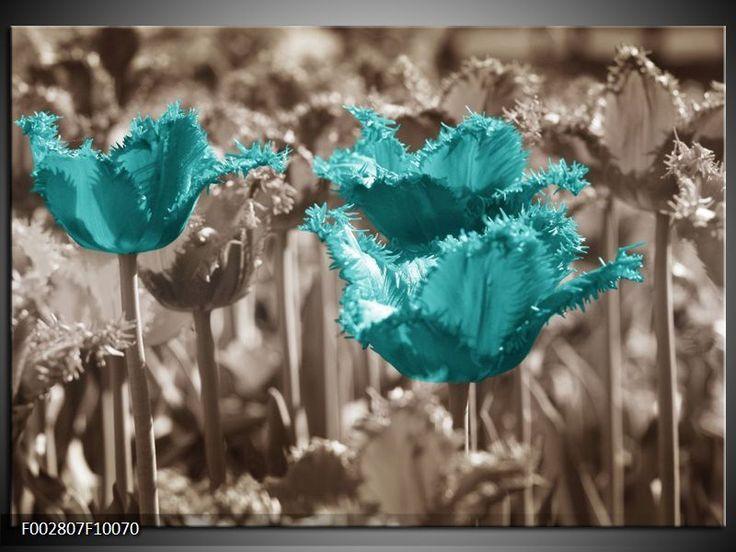 Foto canvas schilderij Tulpen | Kleur: Blauw, Grijs | F002807