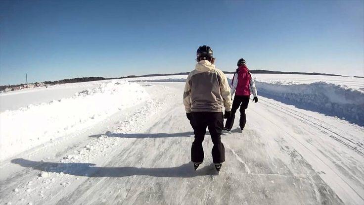 Skating on lake ice in Kuopio, Finland.
