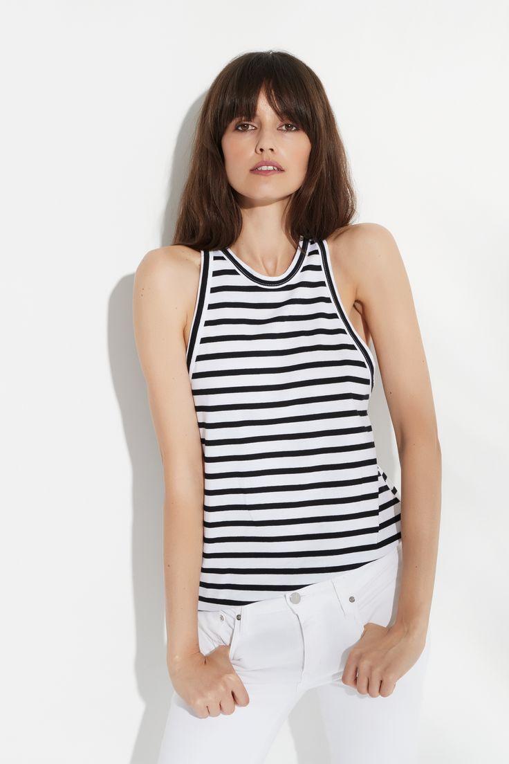 Strip Halter Tank by bon label. Summer 16.17. organic. ethical fashion. made in australia. parisian inspired. good for womankind| halter, tank top, basics, organic, cotton, parisian style | SHOP bonlabel.com.au