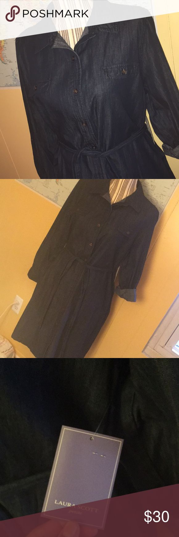 🎁NWT🎁 Laura Scott Denim Dress Excellent Condition! Great Holiday Gift🎉 XL Petite Laura Scott Dresses