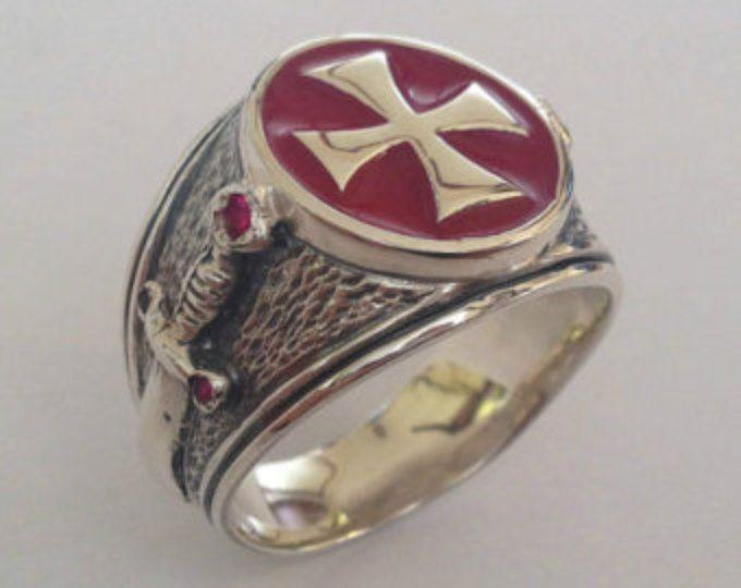 Caballeros Templarios MASÓNICOS tempelritter Cruz plata 925 anillo rojo esmalte / hecho a mano - todos los tamaños!