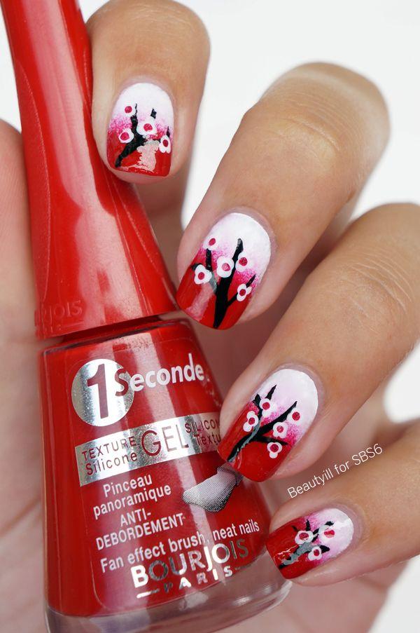 Mooie nail-art. Bloesemboom, echt is voor de lente! ( mijn favo seizoen )