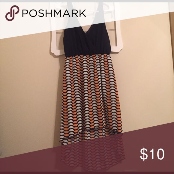 Gameday Dress Navy + orange high low dress. Perfect for college football games, only worn once. prospero Dresses High Low