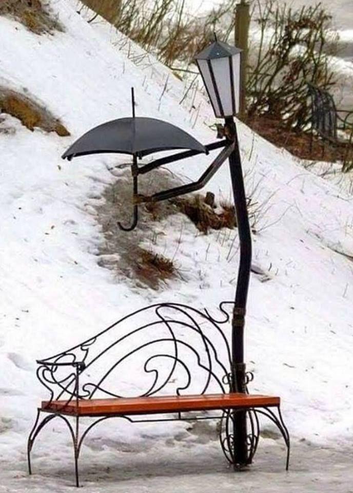 Banc lampadaire parapluie