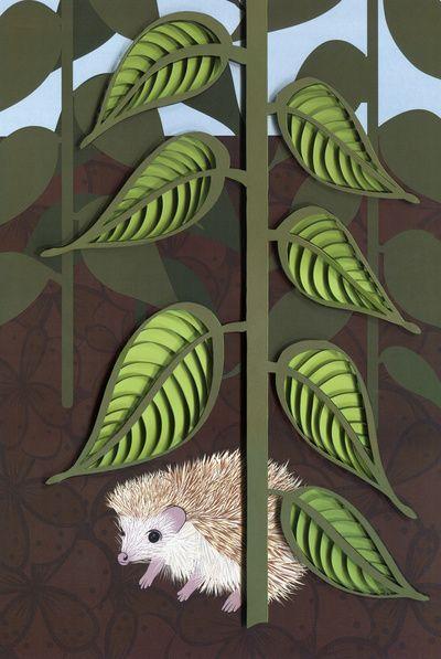 Layered leaves and hedgehog - paper art print Art Print