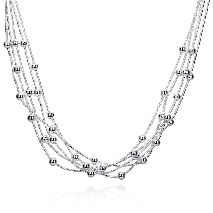 Free Shipping Newest silver plated collar necklace Filve Line Beads tenis masculino bijouterie SMTN213