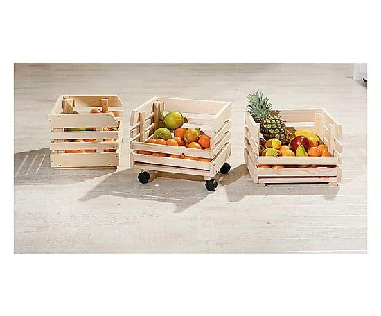 Carrello in abete con 3 scomparti Fruits, 30x80x37 cm