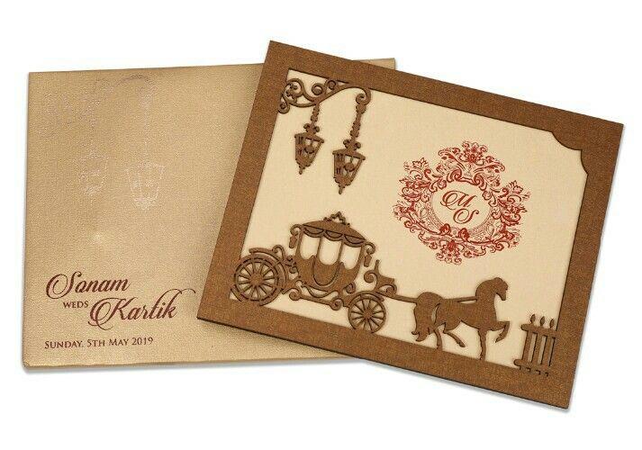 Designer Wooden Laser Cut Marriage Invitation Cards Design